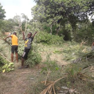 The Onesimus boys worked very hard to clean their compound. There was so much bush that needed to be cleared. Last weekend they worked very hard and finished up. After that: time for Madafu. The local thirst quencher. Well done boys and well deserved! #s2skidshomes #onesimusboys #clearingthebush #coconutwater #fresh #madafu